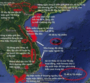 A meme mapping Chinese projects and military interventions, amounting to a Chinese siege of Vietnam