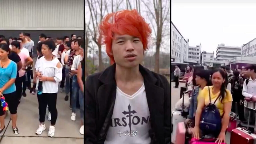 Three screenshots from the documentary, showing workers in recruiting centers and a young man with orange hair